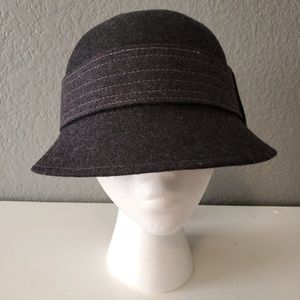 Scala Handcrafted Lana Wool Cloche Buckle Hat NWT